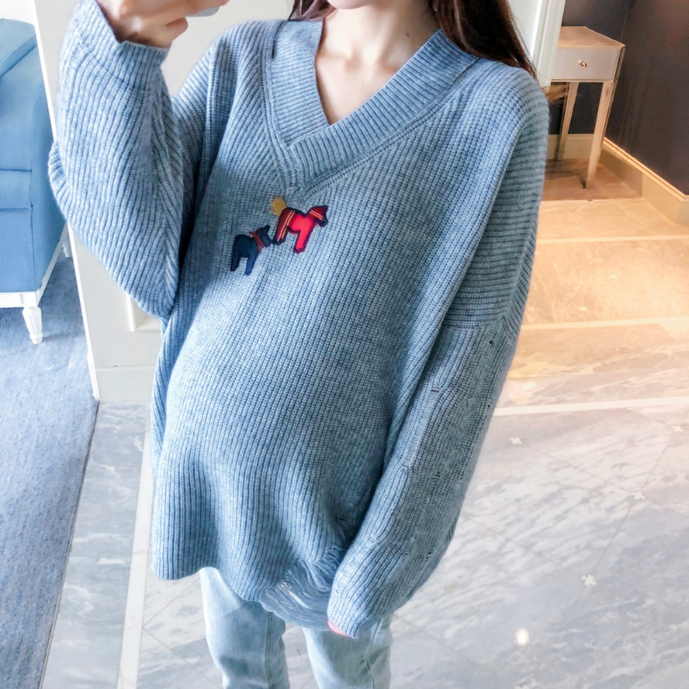 Pregnant women wearing sweaters 2018 autumn and winter new wild large size V-neck maternity wear loose knit tops крючок akara sw 1123 1 универсальный 10 10шт универсал
