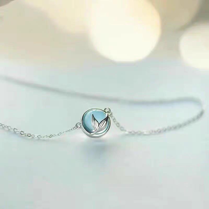 163.67руб. 20% СКИДКА|Трендовые ожерелья из стерлингового серебра 925 пробы с кристаллами и хвостом русалки, подвески для женщин, длинное колье с цепочкой, ожерелье с воротником, 2019|Ожерелья-чокеры| |  - AliExpress