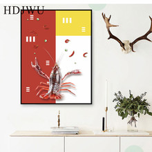 Cartoon Art Home Canvas Painting Wall Picture Lobster Printing Posters Pictures for Restaurant  Decor DJ260