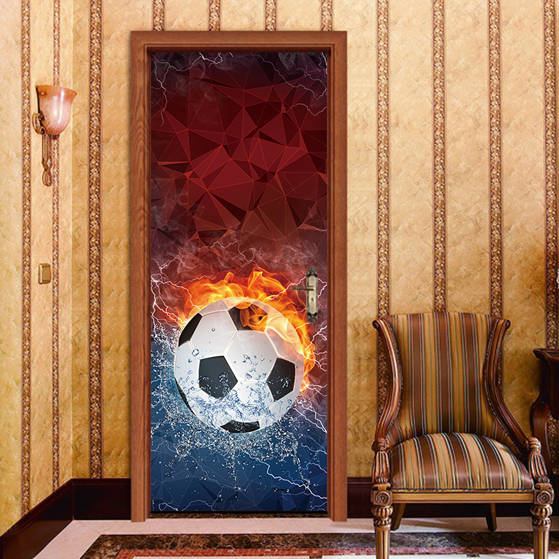 3D Effect Colorful Football Soccer Waterproof Removable Door Sticker Wallpaper PVC Poster Sticker Living Room Bedroom Home Decor