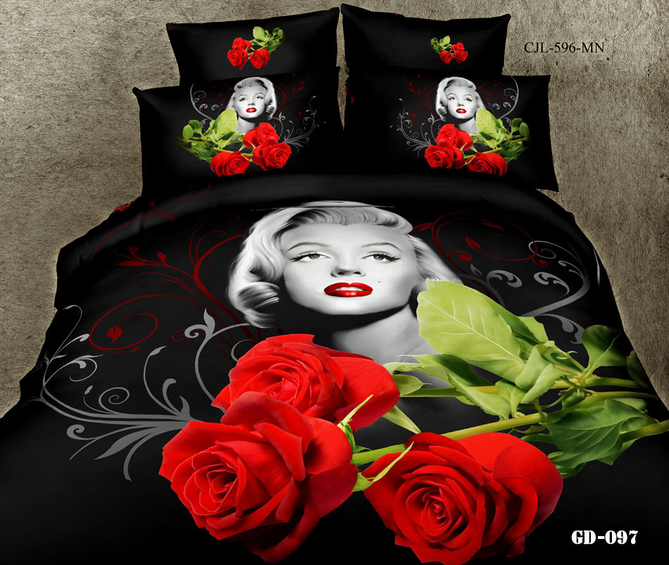 3D Marilyn monroe rose bedding set california king queen size quilt duvet cover bedroom bed in a bag fitted sheets linen cotton