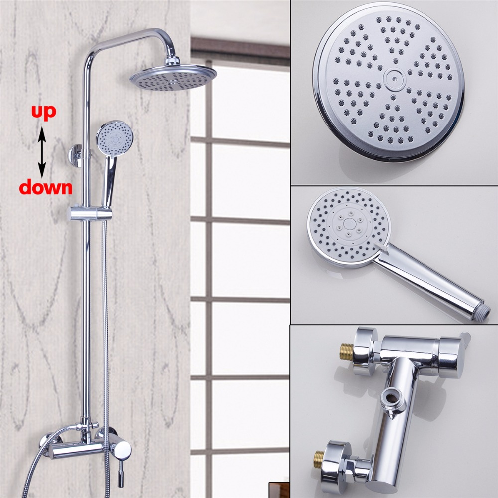 NEW European Style Wall Mounted Bathroom Polished Chrome Rain Shower Faucet Set free shipping high quality bathroom toilet paper holder wall mounted polished chrome