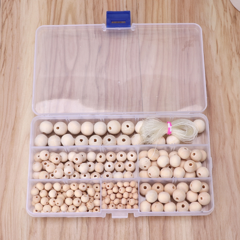 220Pcs Natural Round Loose Wood Beads Jewelry Making Bracelet Necklace With Box