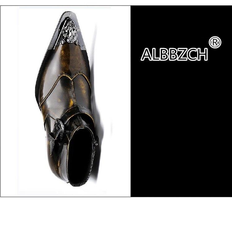 Couro 1 Patente Ocidentais Ankle Trabalho Sapatos Zip Mens Fivela Botas Boots Moda Cowboy Apontou Homens De Retro Nova Toe ZzUqYz