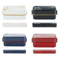 Microwave Oven Heating Double layer Bento Box Japanese style Three Compartment Partition Rectangular Plastic Lunch Box Set