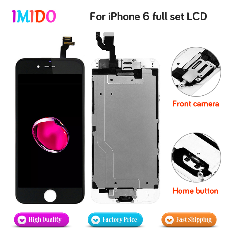 US $78 62 22% OFF 5PCS/LOT For iPhone 6 LCD Display Touch Screen Home  button+Front camera No Dead Pixel Digitizer Full Assembly Replacement-in  Mobile