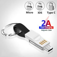 3 in 1 Magnetic USB Cable Micro Type C Lighting 2A Fast Charging For iPhone Samsung Huawei Xiaomi Mini Keychain Charger Cord