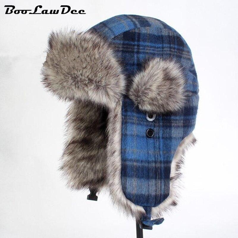 BooLawDee blu plaid misto lana cappelli di pelliccia bomber uomo donna cappellino  invernale con earflaps protezione 56 cm 58 cm 60 cm 62 cm M224 in ... 5319689a3641