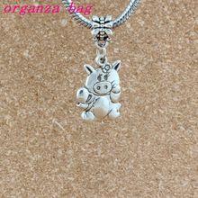 цена на 100pcs/lots Antique silver CUTE PIG PIGGY FLOWER Dangle Charm Beads Fit Charm necklace DIY Accessories 15.3x34mm A-513a