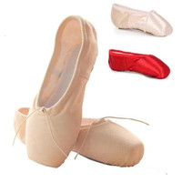 Wholesale Ballet Shoes For Girls Satin Canvas Pointe Shoes With Ribbon And Gel Toe Pad Dance