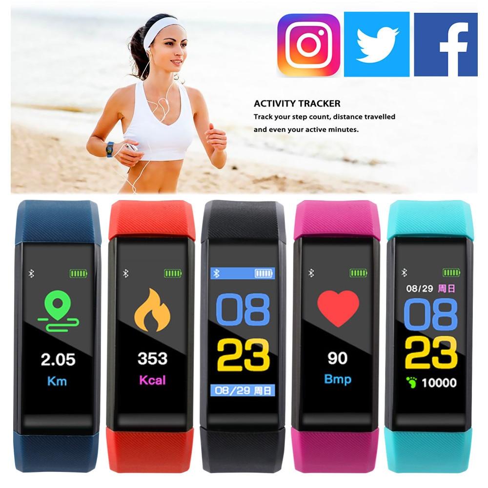 Smart Bracelet Heart Rate Monitor Blood Pressure Monitor Colorful Screen Vibrating Alarm Clock pk fitbits miband 3