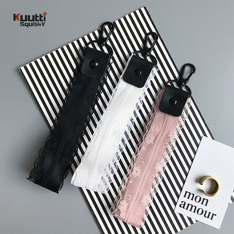 Kuutti 1PC Black Pink White Elegant Lace Wrist Strap for Phone Case Key Chain Ropes Universal Use DIY Mobile Phone Accessories,White