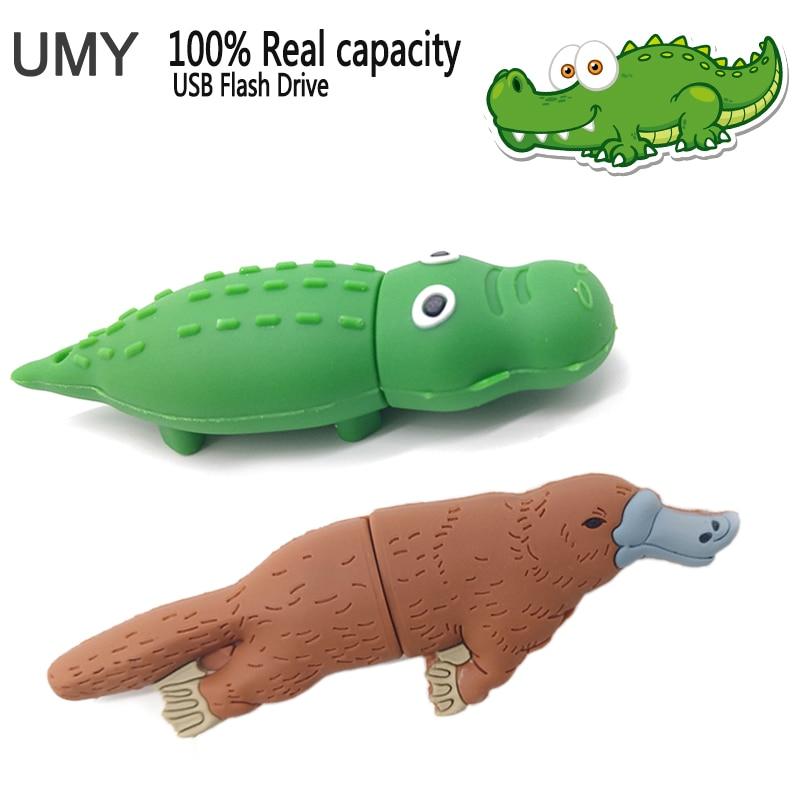 USB stick pen drive 4GB 8GB 16GB 32GB 64GB cartoon crocodile usb flash drive real capacity pendrive cute platypus flash drive cute cartoon tortoise style usb 2 0 flash drive green light yellow 16gb