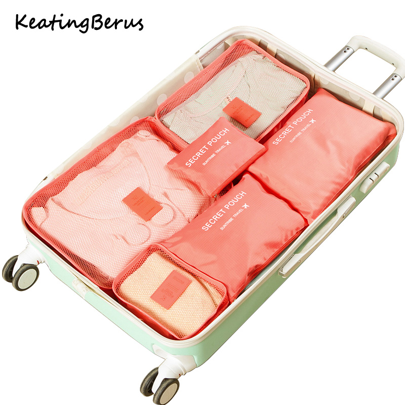 High Quality Oxford Cloth 6PCS/Set Travel Mesh Bag In Bag Luggage Organizer Packing Cosmetic Bag Cube Organiser for Clothing