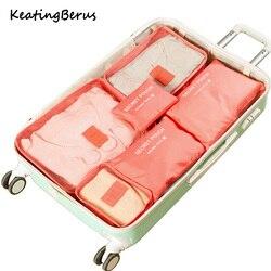 عالية الجودة أكسفورد القماش 6 قطعة/المجموعة السفر شبكة حقيبة في حقيبة الأمتعة المنظم التعبئة التجميل حقيبة مكعب المنظم للملابس