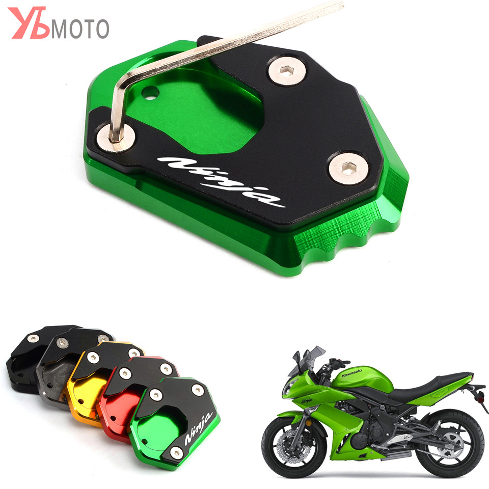 Latest Aluminum Side Stand Pad for <font><b>KAWASAKI</b></font> <font><b>NINJA</b></font> <font><b>250</b></font> 300 650 1000 ER6F ER4F ZX6R ZX10R Motorcycle Plate Kickstand Extension image