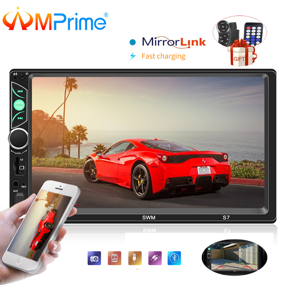 AMPrime S7 Autoradio 2 Din Car Radio 7 HD Touch Screen Audio Stereo Bluetooth Video MP5 Multimedia Player With Rear View Camera