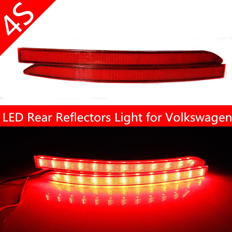 Red Lens Auto LED Rear Reflectors Light for Volkswagen Tiguan 2011-2012 Car Tail Fog Lamp Bright Brake Stop Night Running Lights car rear trunk security shield cargo cover for volkswagen vw tiguan 2016 2017 2018 high qualit black beige auto accessories