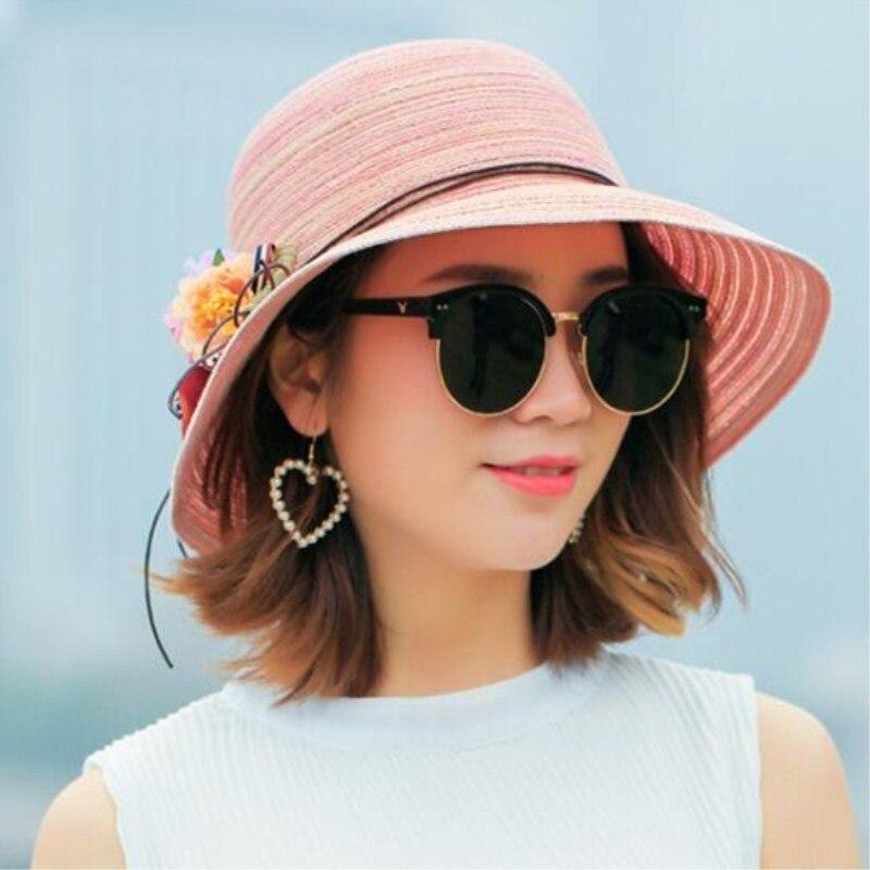 Fashion Women  Hat Lady Medium  Brim Floppy Summer Beach Sun Straw Hat Cap With Flower Free Shipping
