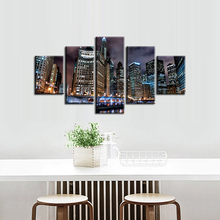 Framded 5 pieces / set of City night scene series wall art for decorating home Decorative painting on canvas /XC-city-87