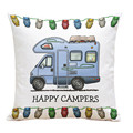 Fashion Style Cotton Linen Letter happy campers Throw Pillow Case fronha travesseiro 45*45 cm 2016 Gift 1pc