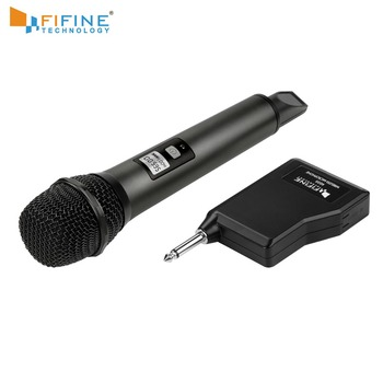 Fifine UHF Channels Wireless Microphone System with Portable Receiver 1/4'' Output MIC for Family Part KTV Bar Music Club K035B