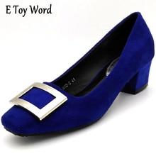 Sapato Feminino 2017 Nuevo Estilo cómodo Square Toe Mujeres Bombas Mediados Oficina tacones Mujeres Zapatos Con un Tacón Bajo Tamaño Grande 35-43