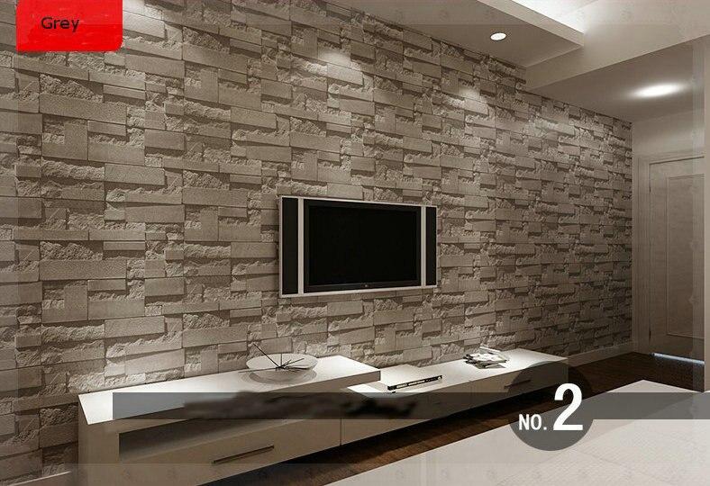 tienda online apilados ladrillo piedra d wallpaper moderno de paredes pvc rollo de papel de la pared de ladrillo papel tapiz de fondo gris