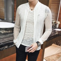 2018 Summer Men Jacket Thin Slim Fit Long Sleeve Bomber Jacket Transparent Striped Sunscreen Clothing Windbreaker Coat Mens 3XL