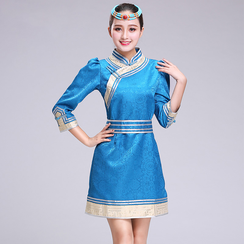 Mongolian Dance Costume Women elegant Ethnic Clothing Mongolia robes Chinese folk dance clothes female stage costume for singers