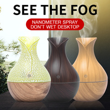 Aroma Essential Oil Diffuser 130ml Mini Air Humidifier USB Ultrasonic Aromatherapy Wood Grain 7 Color LED Lights For Home Office