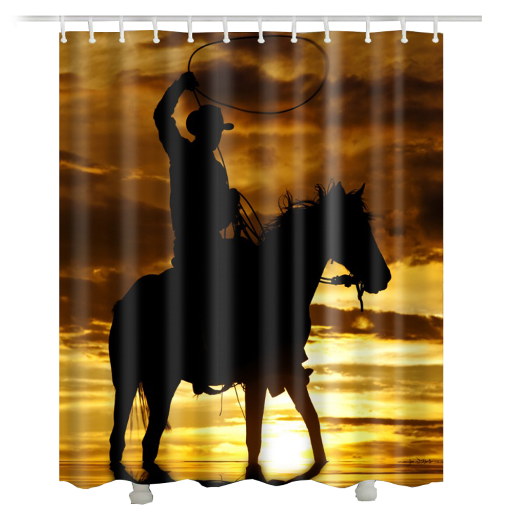 cowboy horse shower curtain polyester fabric sunset waterproof new bathroom curtain American