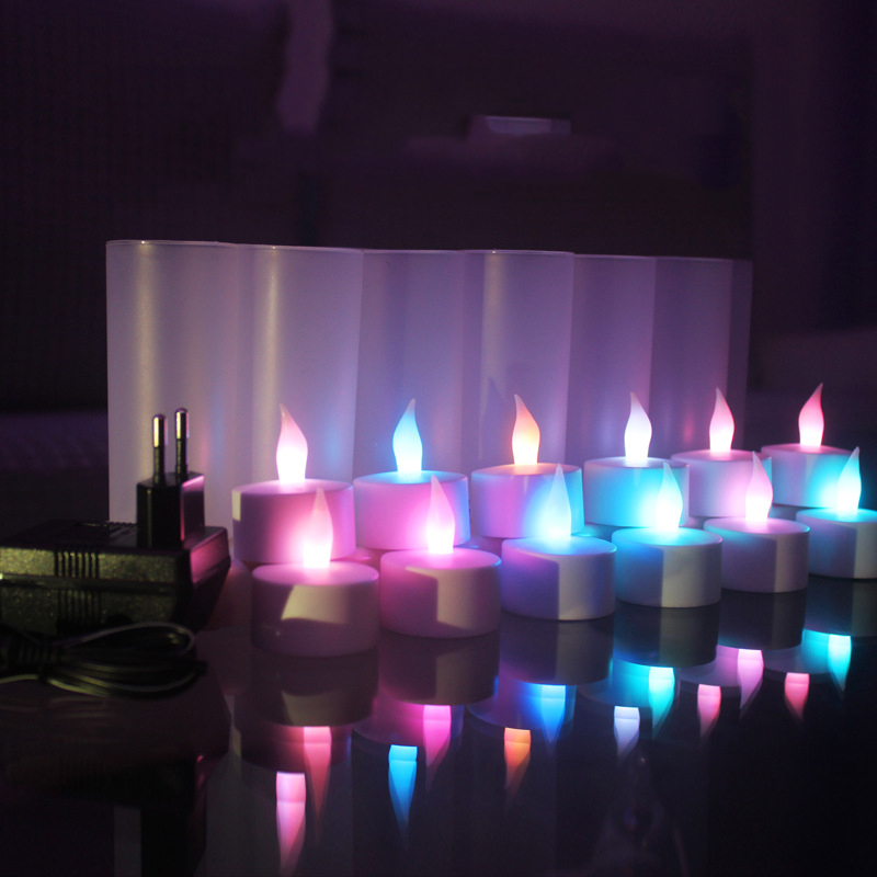 12 pieces Flickering Color changing bougie electrique,Battery velas recargables,red blue yellow oplaadbare <font><b>led</b></font> kaarsen image