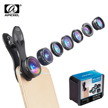 Phone Camera Lens APEXEL 7 in 1 Kit Fish Eye Wide Angle/macro Lens CPL Kaleidoscope and 2X telephoto zoom Lens for iPhone6s 7DG7 4 in 1 phone lens 0 63x wide angle macro fish eye telephoto zoom lens for samsung s8 s9 plus phone camera lens kit