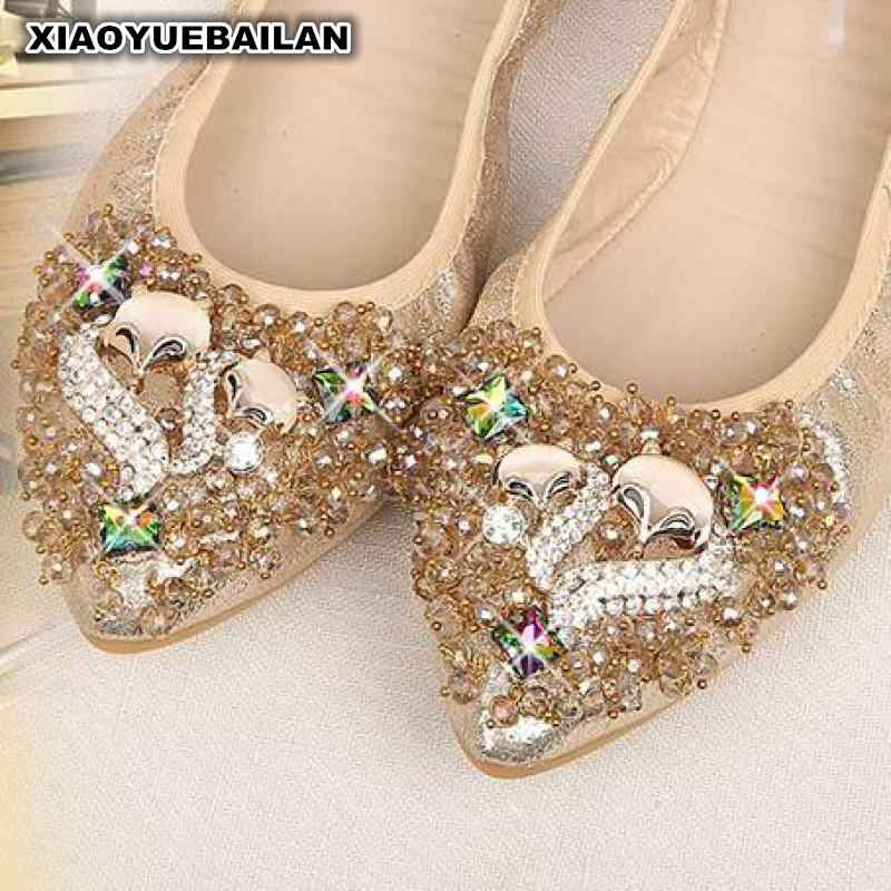 Jesień w nowym stylu zroszony sajgonki, buty damskie duży rozmiar, w ciąży fasoli, grochu, buty, wskazał płaskie buty