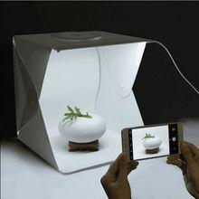 Estúdio fotográfico portátil dobrável 30x30 cm, kit fotográfico softbox com luzes led de 30x30x30 cm, mini estúdio de fotos