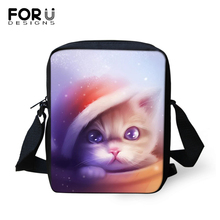 FORUDESIGNS Cartoon Cats Prints Women Messenger Bags Crossbody Bag for Black Purse Small Phone Coin Handbags