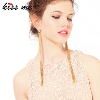 KISS ME Gold Color Alloy Chain Tassel Long Earrings 2018 Latest Oversize Jewelry Personalized Dangle Earrings Women Bijoux