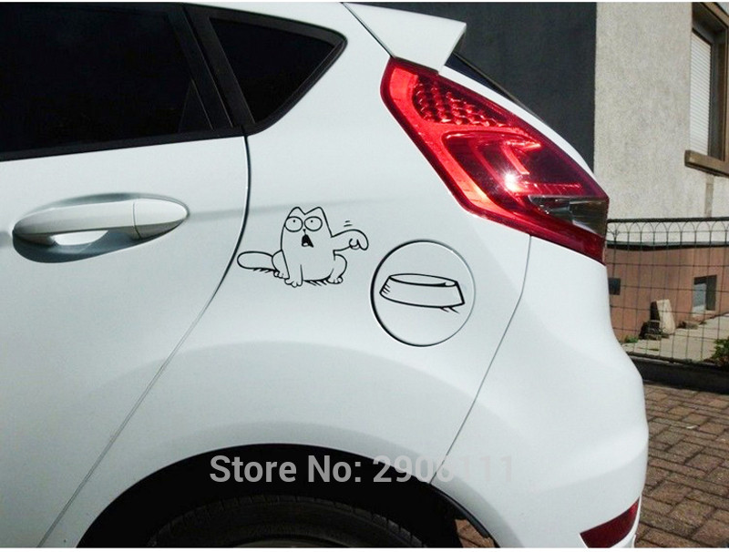 Hungry Simons cat bowl car sticker gas tank cap for Ford mondeo kuga fiesta Focus ecosport fusion mk4 accessories car-styling