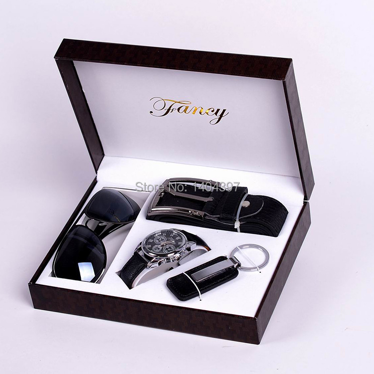 Men Birthday Gift Suit Package Car Key Ring + SunGlasses + Belt + Watch For Men New Arrival