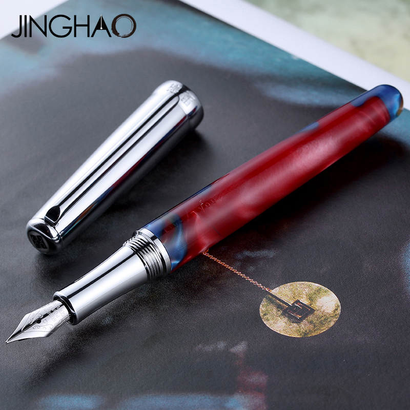 Fashionable Silver Clip Gift Fountain Pen Screw Type Cap Fine Point 0.5mm Ink Pens with an Original Gift Box 2 Colors for Choose 9901 fine financia pen student pen art fountain pen 0 38 0 5 0 8mm optional gift box set