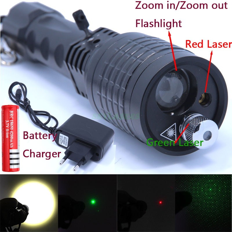 3 in 1 Flashlight Green/Red Laser 4 modes 2000 LM Zoomable Led Light Lantern Torch LED Flashlights+18650 +Charger