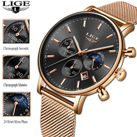 2019 New Year Gift LIGE Womens Top Brand Luxury Quartz Watches Ultra thin Mesh With Moon Phase Small Dial Watch Reloj Mujer
