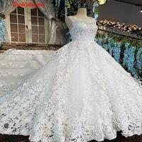 00184 белый аппликации из бисера Роскошные Высокое качество Заводская цена свадебные платья длинный хвост
