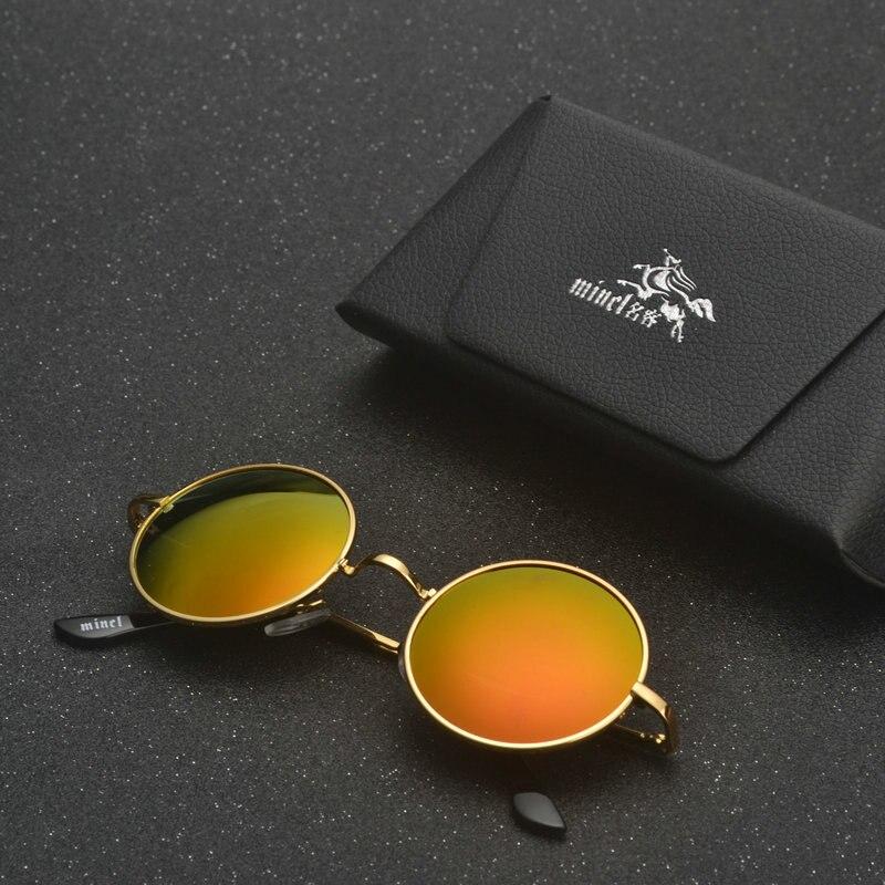 MINCL/ punk Polarized Sunglasses Men Women Retro Brand Designer Small Round Alloy Frame Summer Style Unisex Sun Glasses LXL 1