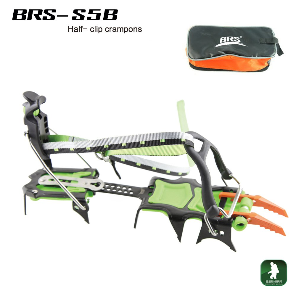 BRS 14 Teeth Professional Outdoor Climbing Full Clip Crampon Manganese Steel Ice Gripper Mountaineer Expeditions BRS