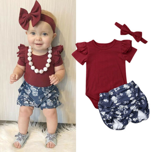 Bodysuit-Outfits Baby-Girl Pants Headband Romper Tops Infant Clothes Flower-Print 3pcs-Set