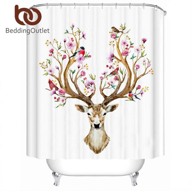 BeddingOutlet Elk Moose Tenda Della Doccia Floreale Fiori Renna Cervi Impermeabi