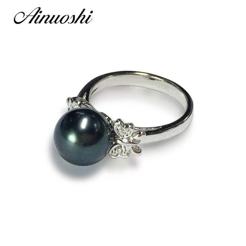 AINUOSHI 925 серебро в форме бабочки Обручение кольцо Южных морей Naural черный жемчуг Таити 9,5 мм Круглый Перл кольца ювелирные изделия