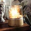 Современная настольная лампа из цельного дерева  скандинавские прозрачные стеклянные настольные лампы для спальни  декоративные светильн...